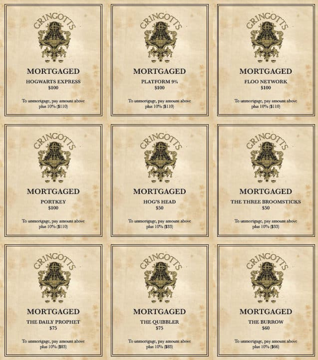Mischiefffmanaged Harry Potter Monopoly Mortgage Cards
