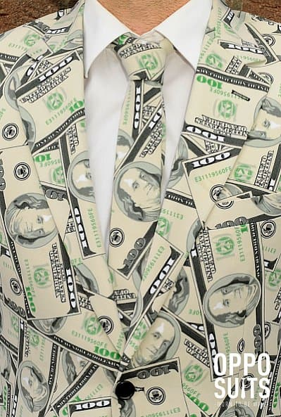 OppoSuits Cashanova Party Costume Suit Dollar Fashion