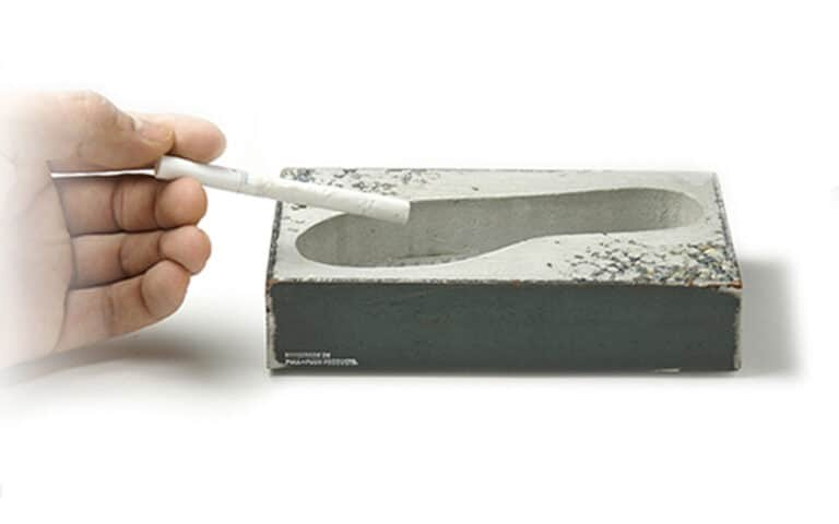 Pull+Push Concrete Foot Ashtray Cigarette Size Comparison