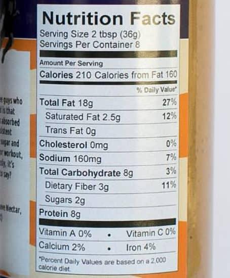 Steem Caffeinated Peanut Butter Nutrition Fact