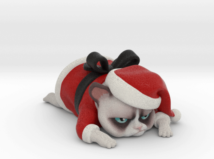 3D Printed Grumpy Cat Christmas Edition Computer Rendition