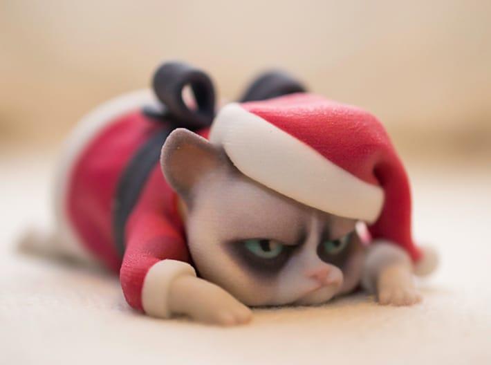 3D Printed Grumpy Cat Christmas Edition Funny Decor