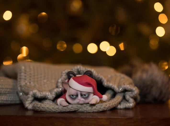 3D Printed Grumpy Cat Christmas Edition Hilarious Figurine