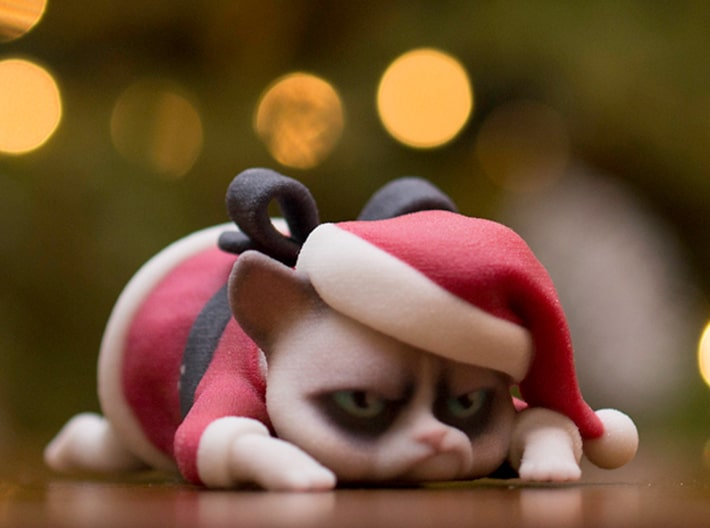 3D Printed Grumpy Cat Christmas Edition Internet Celebrity Figure
