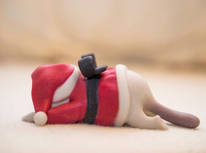 3D Printed Grumpy Cat Christmas Edition Side View
