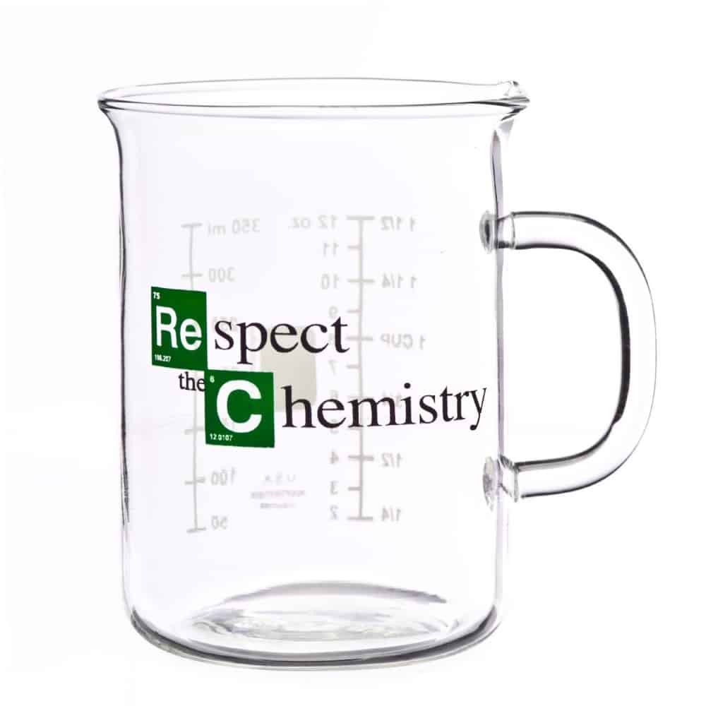 Breaking Bad Inspired Respect the Chemistry Beaker Mug Geek Gift Idea