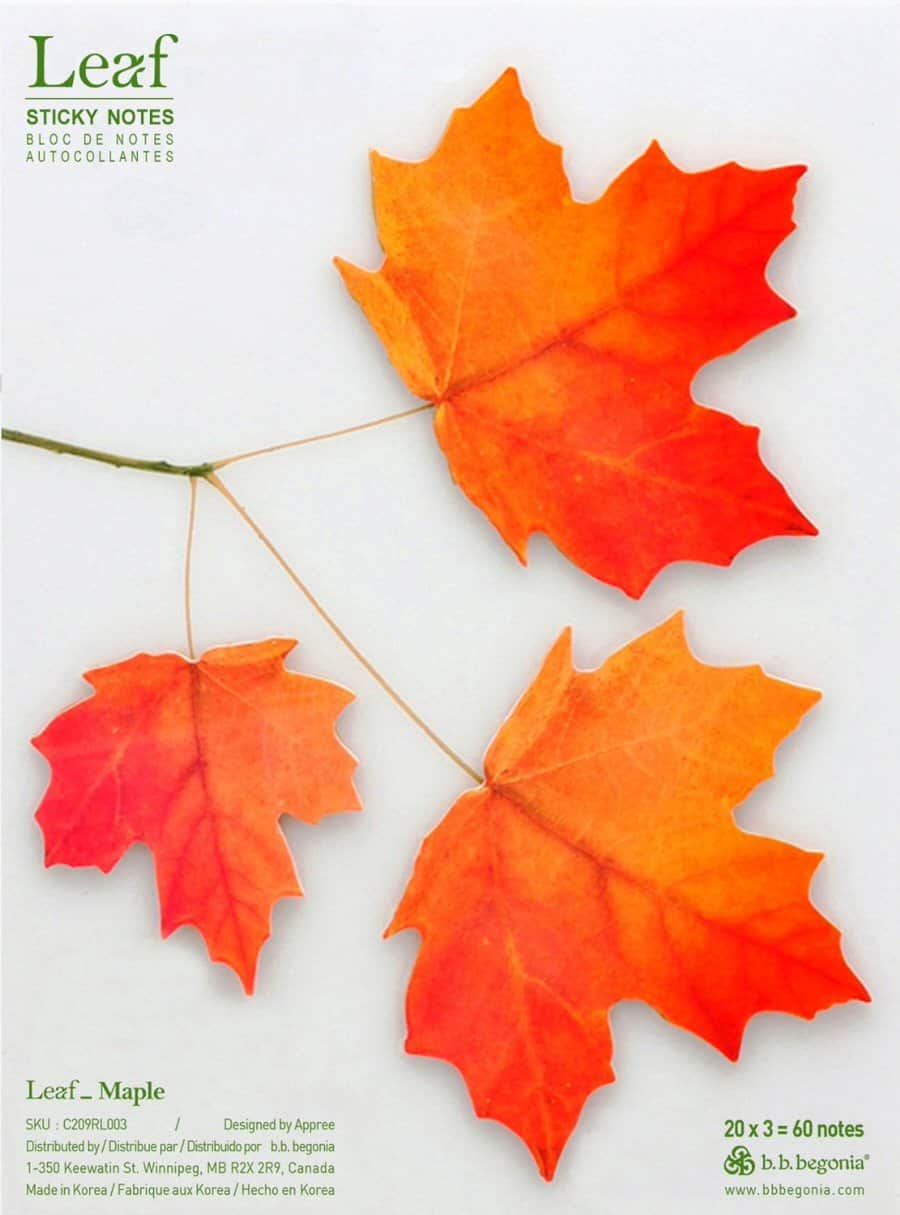 Red Maple Leaf Sticky Notes Realistic