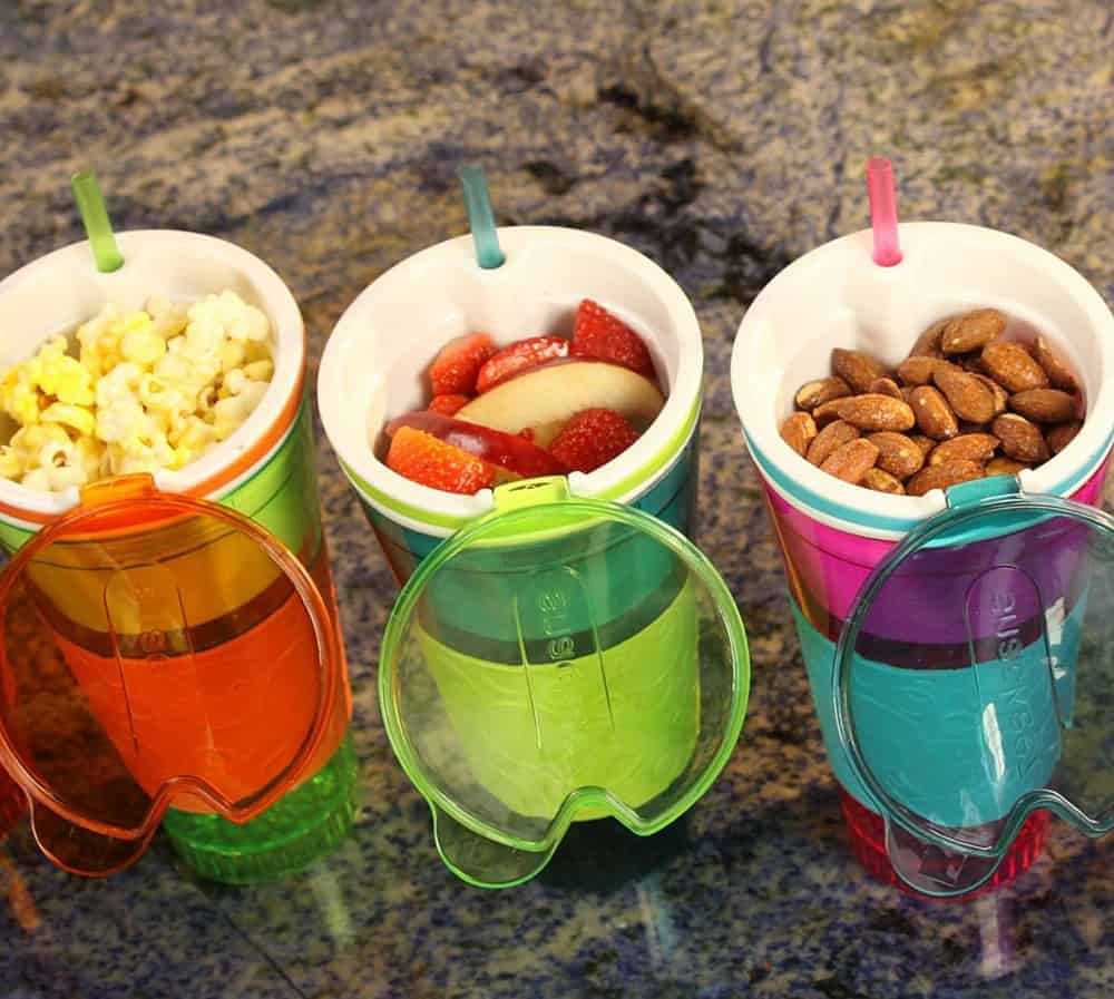 Snack and drink in a cup.