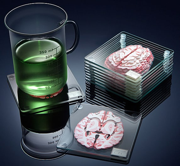 ThinkGeek Brain Specimen Coasters Buy Cool Gift For Friends