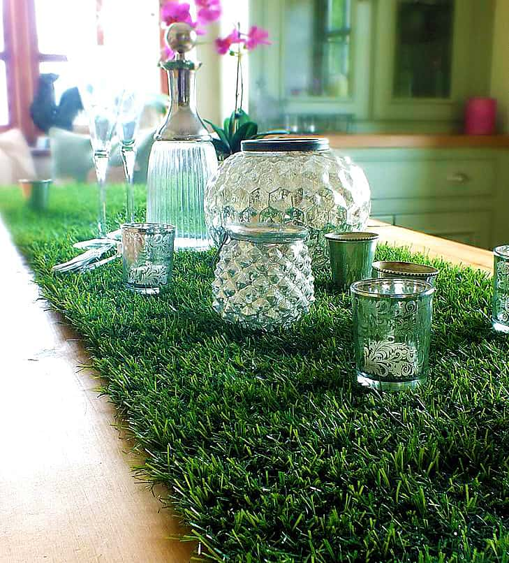 Artificial Grass Table Runner Cool Decoration for Chic Parties