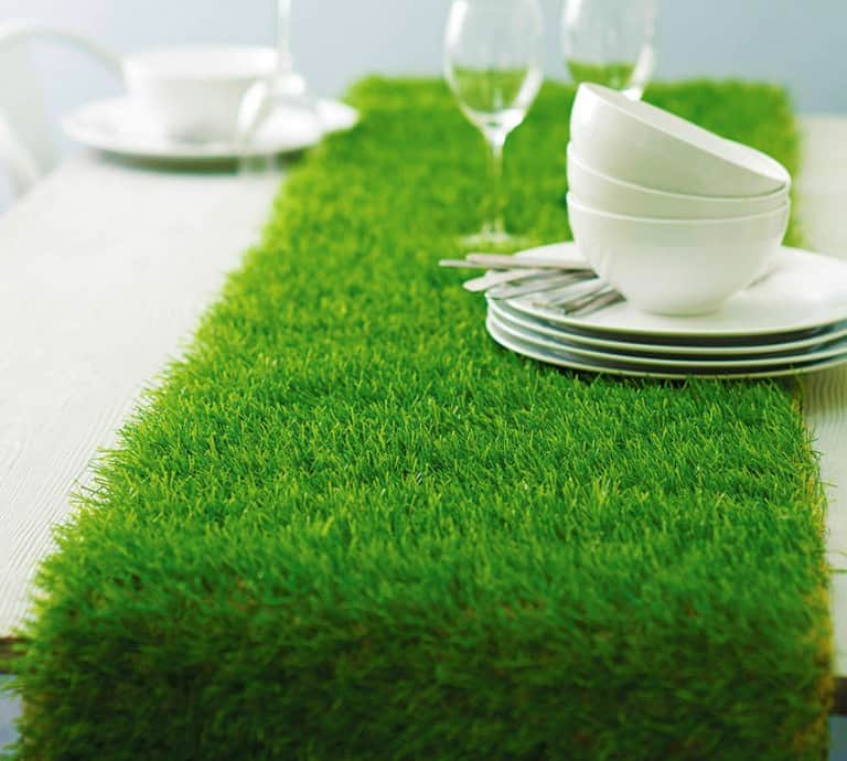 Artificial Grass Table Runner Tea Party Design Idea