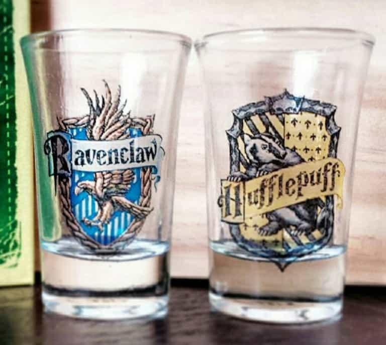 Boos Tiny Bits Hogwart House Shot Glasses Ravenclaw and Hufflepuff