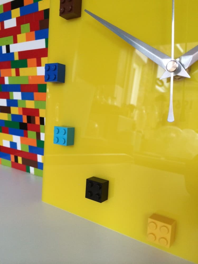 MOnki Stuff Handmade Lego Wall Clock Yellow