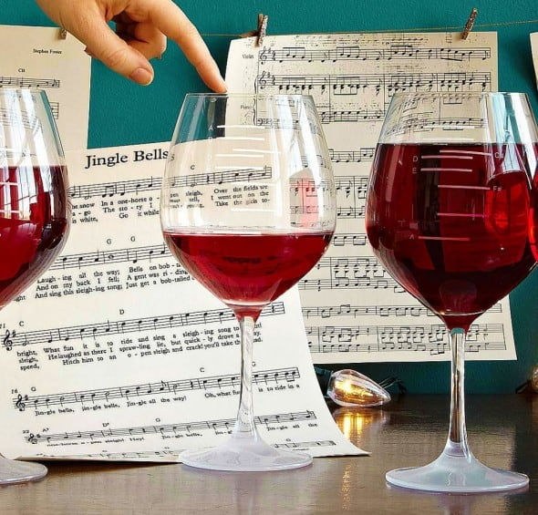 Glass of wine to release your musical creativity.