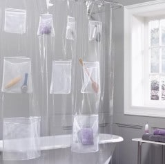 Keep things organized in a shower curtain.