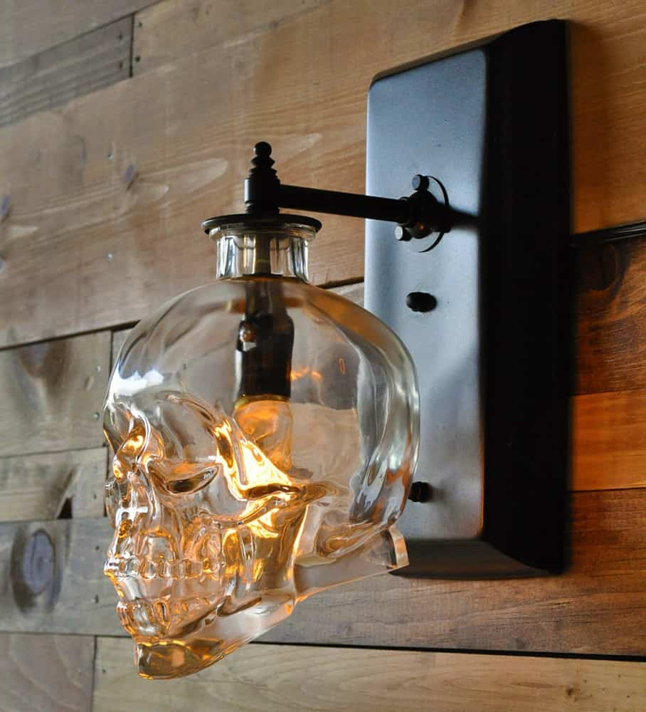Moonshine lamp skull wall sconce noveltystreet glowing crystal skull for your wall aloadofball Gallery