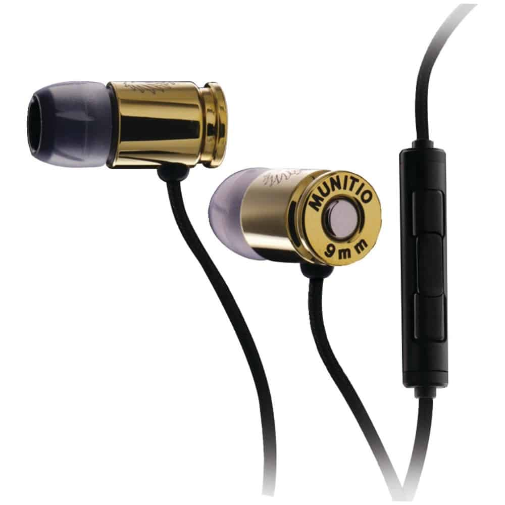 Munitio Nines Tactical Earphones Gold Bullet Design