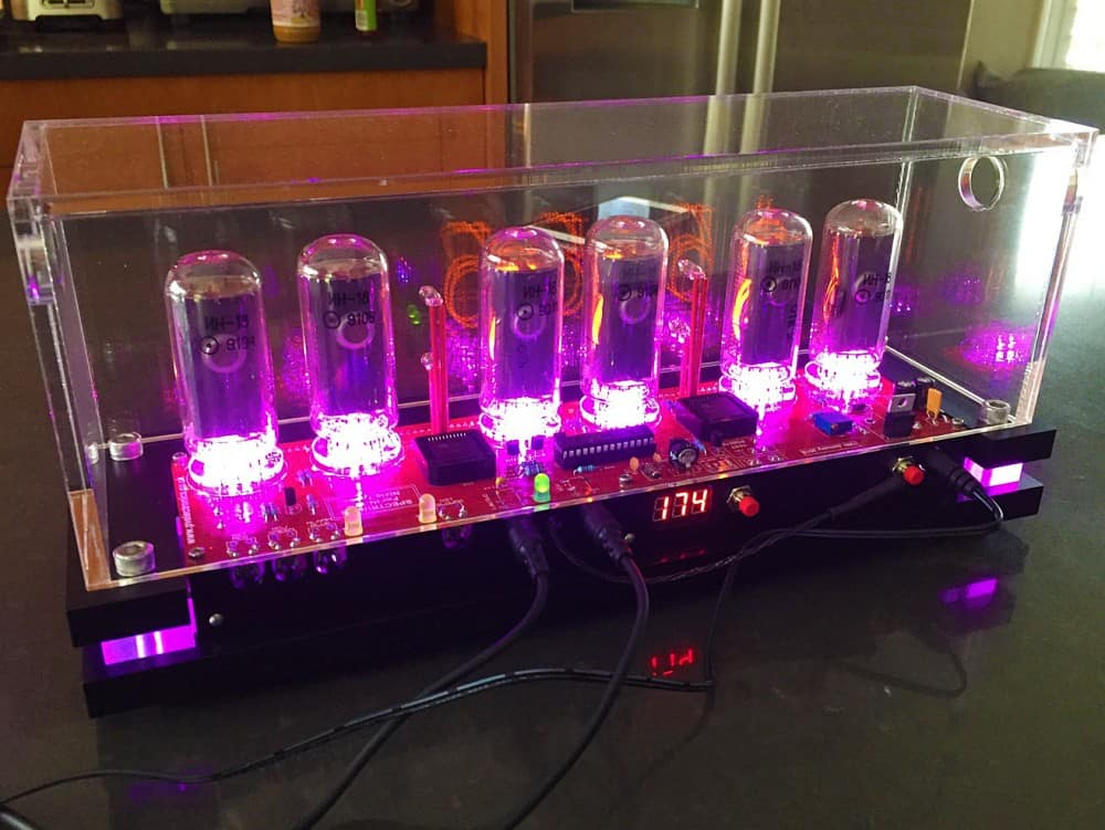 Pramanicin Outstanding IN18 Nixie Tube Clock Pink Light