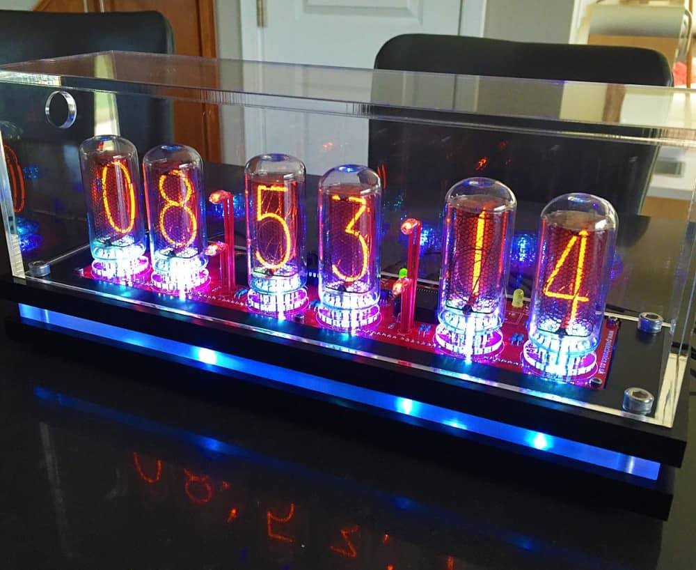 Time glows inside a Nixie tube.