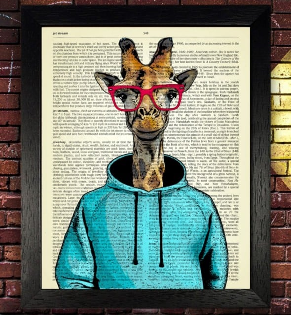 Top London Prints Giraffe in Blue Hoodie with Red Glasses Dictionary Art Print Buy College Dorm Art Piece