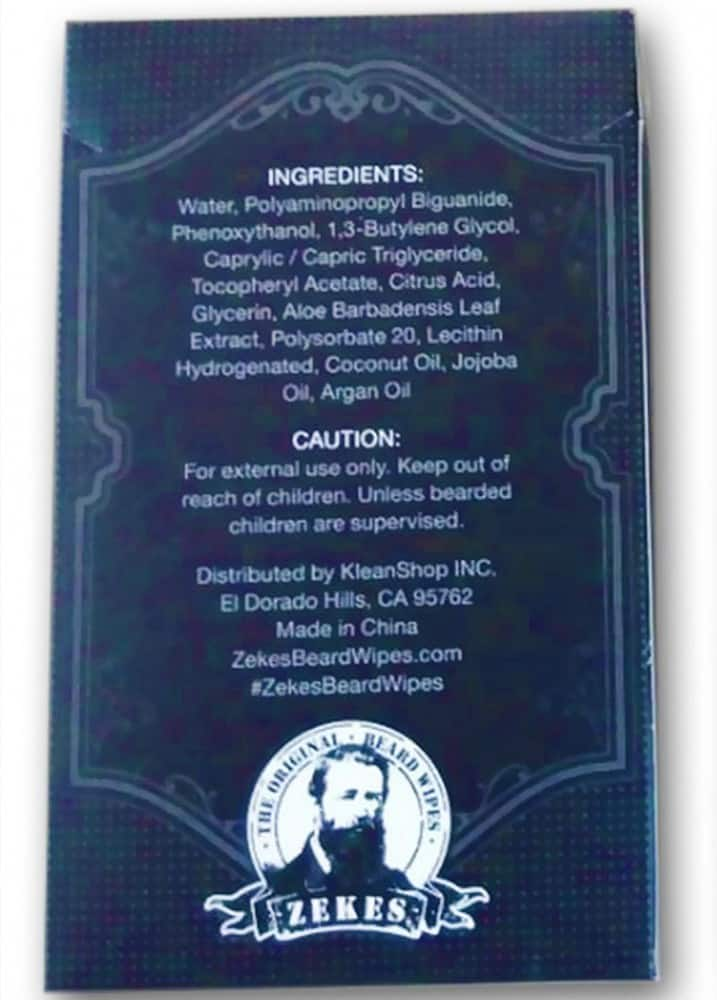 Zekes Original Beard Wipes Ingredients