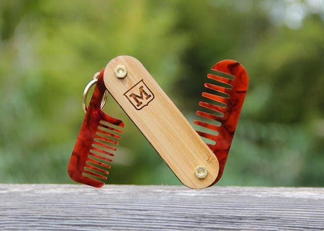 miniFab Personalized Pocket Beard Comb Unique Gift to Buy for Him
