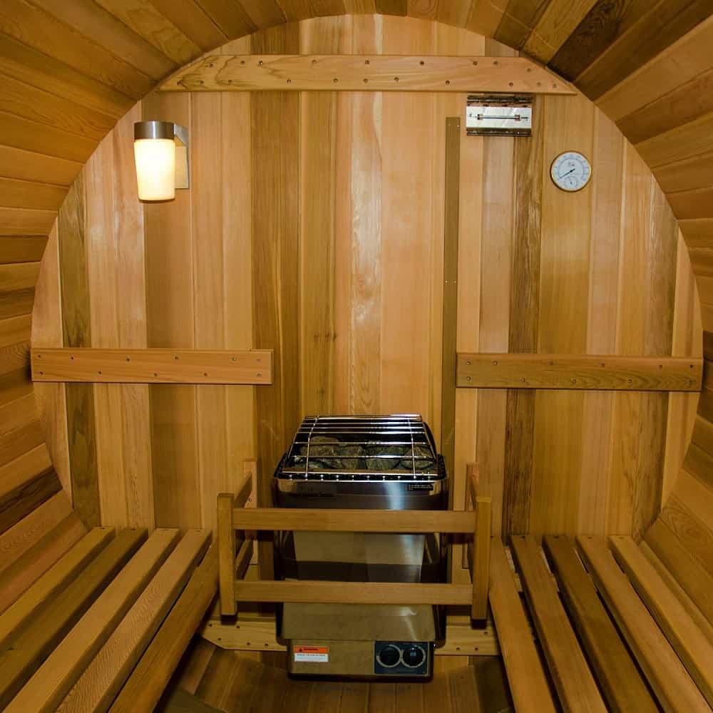 Almost Heaven Saunas Canopy Barrel Sauna Wooden Interior