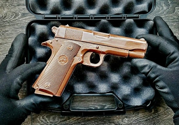 Chocolate Weapons Solid Milk Chocolate 1911 Handgun Perfect Gift Thats Worth a Shot