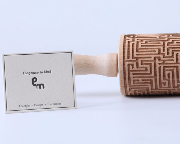 Elegance in Mud Maze Engraved Rolling Pin Kitchen Related Gift to Buy