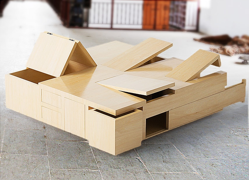 "A ""puzzling"" table that gives you more storage space."