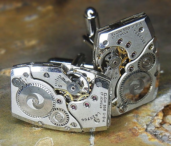 Junk 2 Punk Vintage Mid 40s Elgin Watch Steampunk Cufflinks Unique Fashionwear