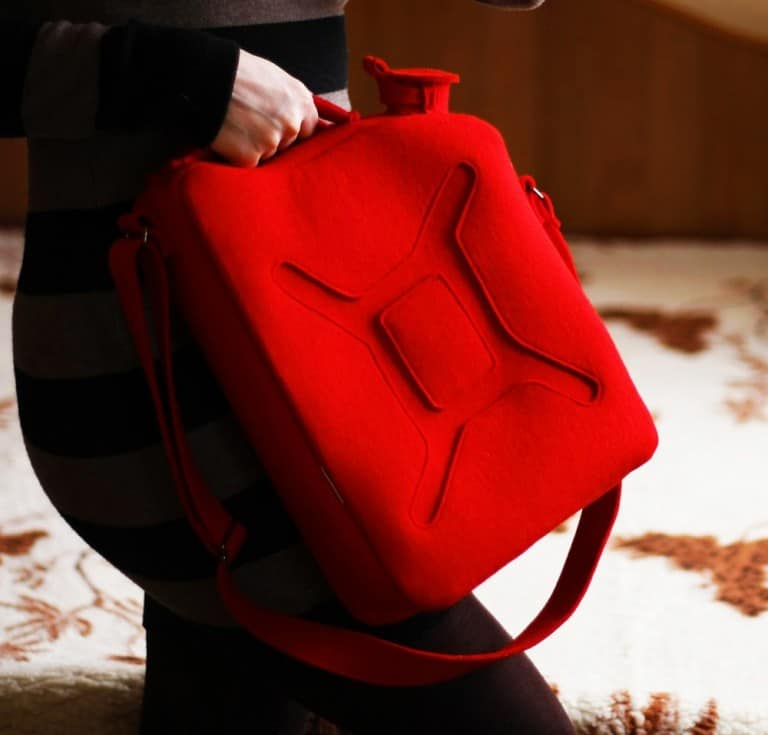 Krukru Studio Red Gas Can Bag Trendy Fashion Accessory to Buy