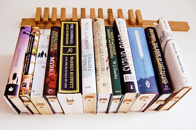 Old and Cold Hanging Book Rack Small Personal Library