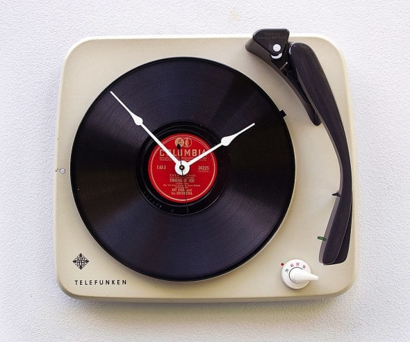Pixel This Recycled Telefunken Record Player Clock Unique Gift to Buy for Her