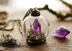 Ruby Robin Boutique Amethyst Crystal Terrarium Necklace Gift Ideas For Her