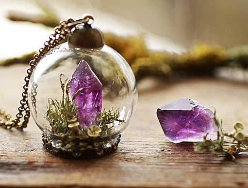 Ruby Robin Boutique Amethyst Crystal Terrarium Necklace