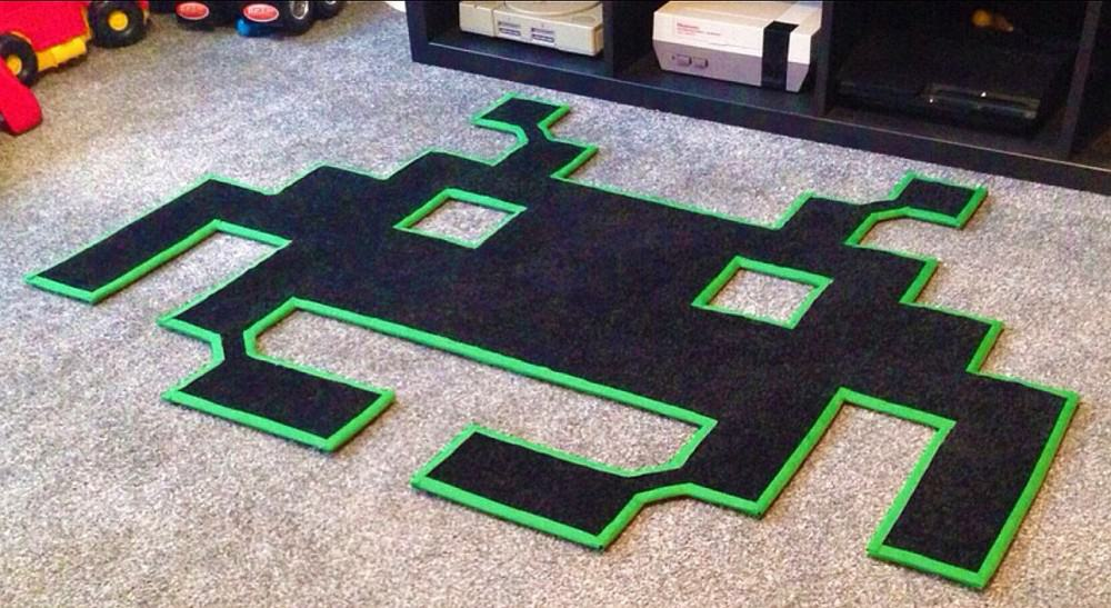 Space Invaders Mats Space Invaders Shaped Rug Noveltystreet
