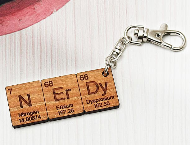 Timber Green Woods Custom Chemistry Element Keychain Personal Nerdy Gift Idea