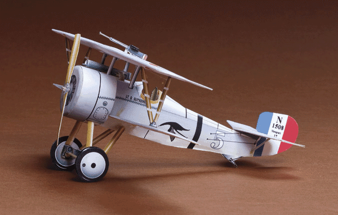 Huntlys Paper Warplanes Kits Nieuport 17 Side View