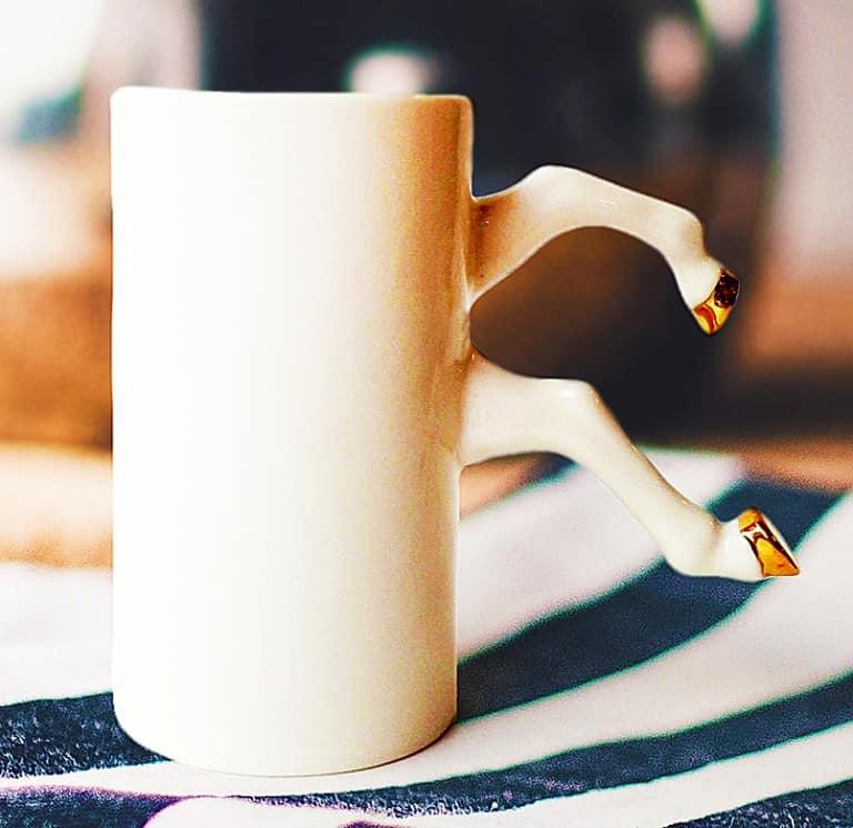 Barceramics White Ceramic Mug with Gold Hooves Buy Cool Unique Utensils