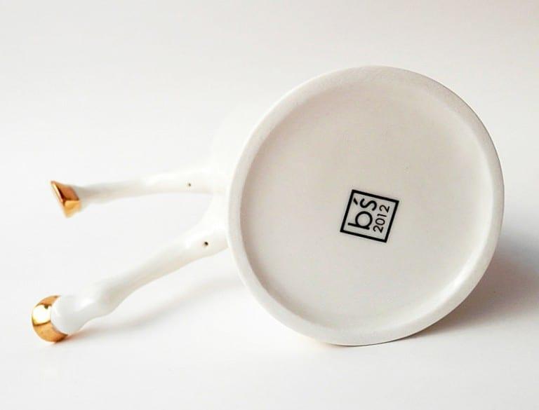 Barceramics White Ceramic Mug with Gold Hooves Gift Idea For officemates