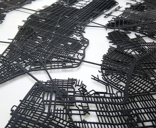 Carbon Light 3D Laser Cut New York Street Map NoveltyStreet – Street Map Nyc