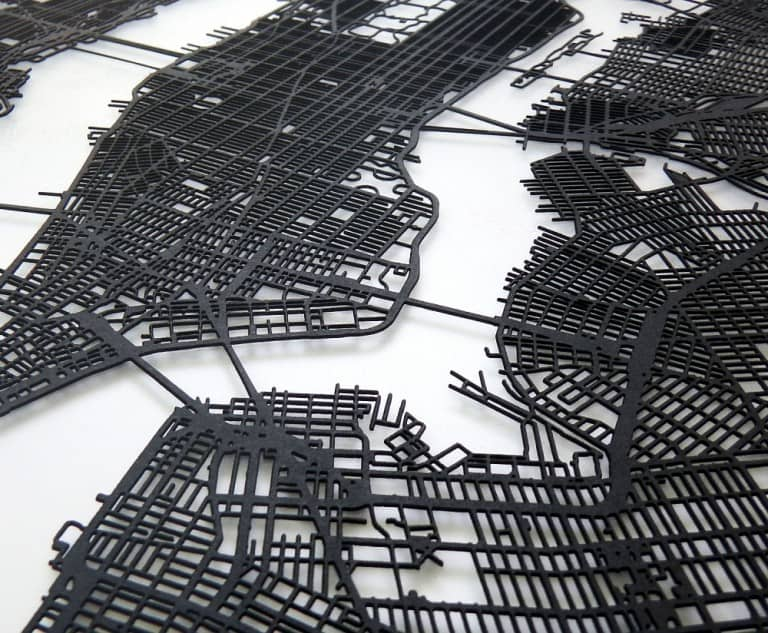 Carbon Light 3D Laser Cut New York Street Map Cool Home Decoration