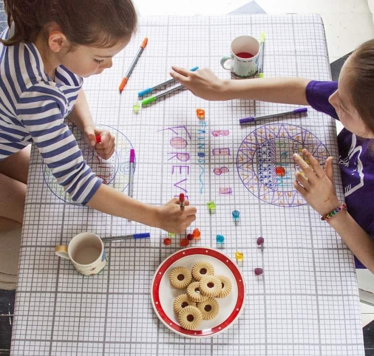 Eat Sleep Doodle Doodle Cotton Tablecloth Gift Idea For Kids