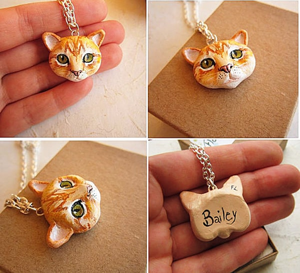Flower Land Shop Cat Portrait Necklace Cool Fashion Jewelry