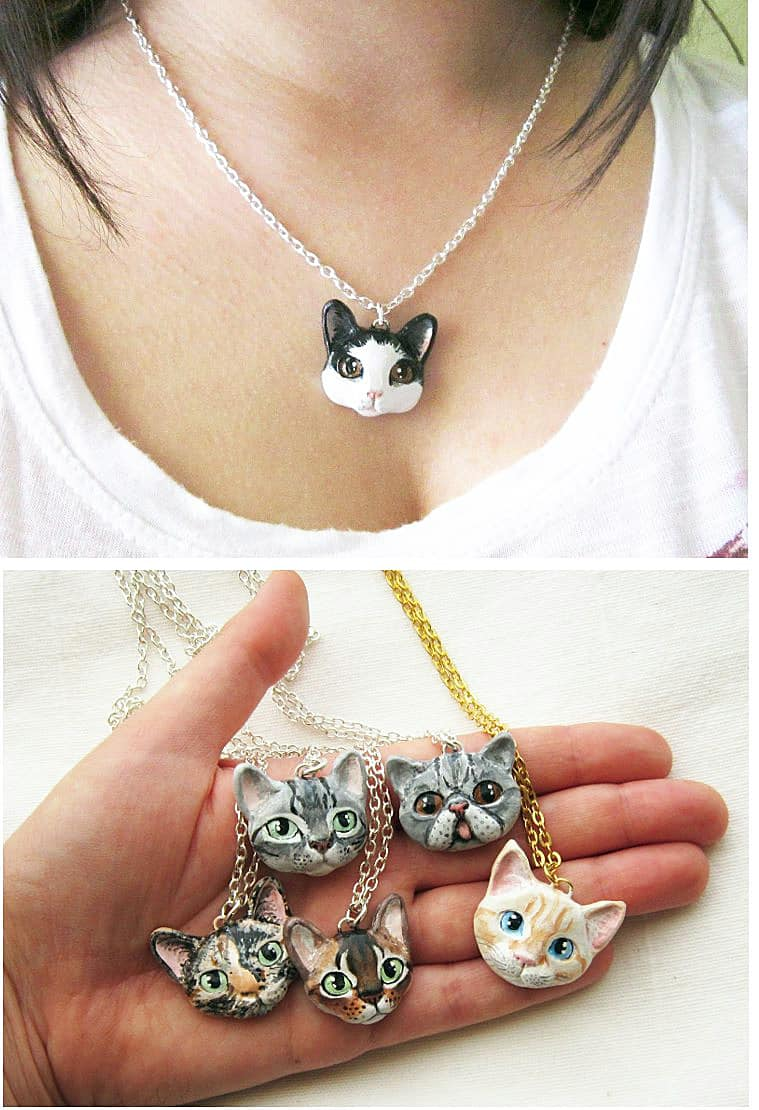 Flower Land Shop Cat Portrait Necklace Cute Kitty Accessory