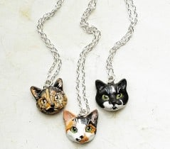 Flower Land Shop Cat Portrait Necklace Gift Idea For Her