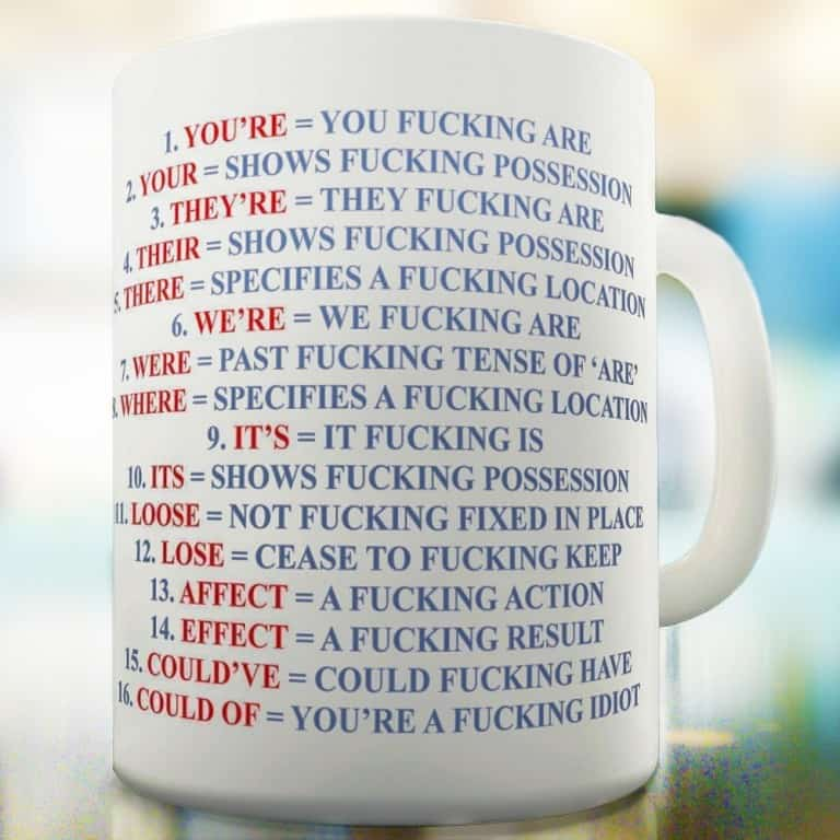 Grammar Expletive and Rude Mug Gift Idea For Friends