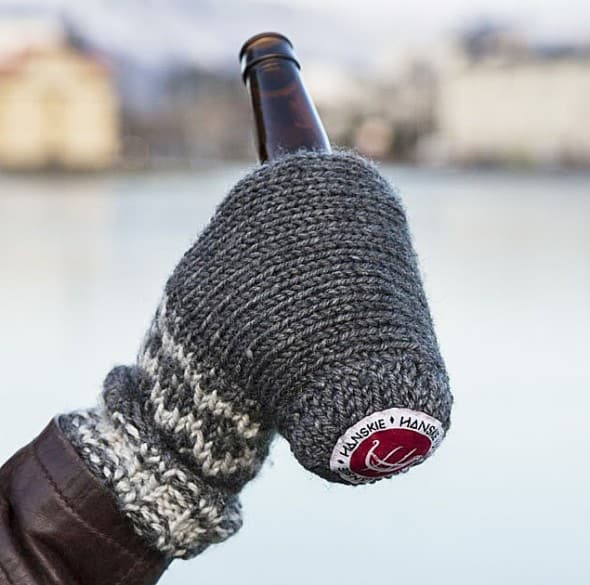 Cool beer, warm hand, one mitten.