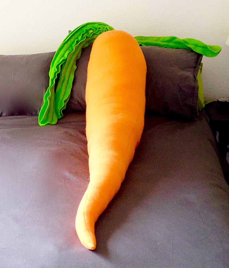 Jumbo Jibbles Giant Carrot Body Pillow Cool Bedroom Accessory
